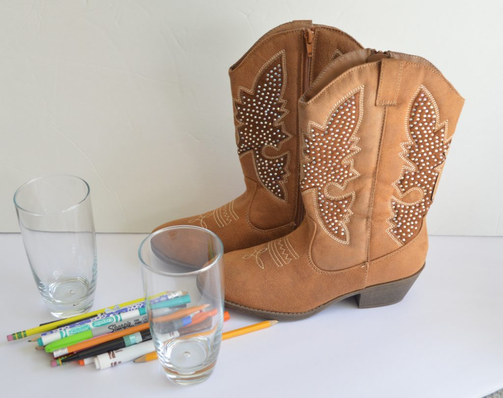 Cowgirl boots desk decor love inspired details next grab 2 glasses or vases i had these 2 drinking glasses around and they were perfect nice and heavy on the bottom because the boots will need to hold floridaeventfo Images